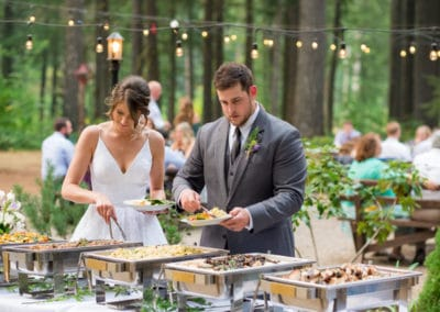 bride and groom in buffet